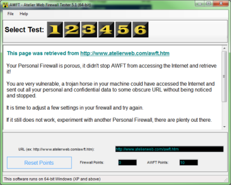 Click to view Atelier Web Firewall Tester 5.1 screenshot
