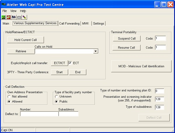 Testing Various Capi supplementary services